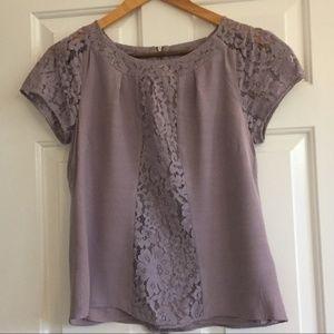 Size 8 Boden Purple Lace Short Sleeve Blouse